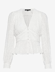 BRENNA FIL COUPE L/S V NK TOP - pitkähihaiset puserot - winter white