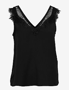 CHIOMA LIGHT LACE TOP - hihattomat topit - black