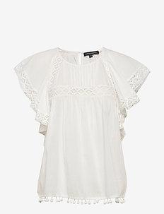 CADENZA FRILL DETAIL TOP - kortermede bluser - summer white