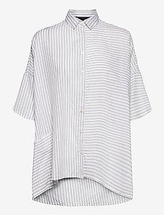 AASHI SHIRITNG SHORT SLEEVE SHIRT - overhemden met korte mouwen - linen white/grey