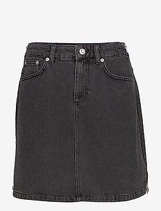 PEPPER DENIM SIDE ZIP MINI SKIRT - farkkuhameet - black