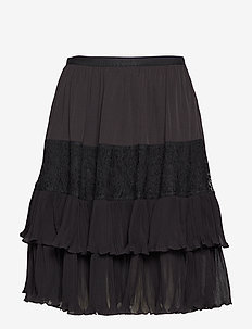 CLANDRE VINTAGE LACE MIX SKIRT - midi - black