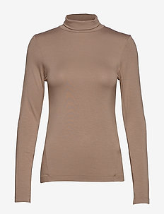 VENETIA JERSEY SPLIT CUFF TOP - basic t-shirts - camel