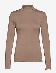 VENETIA JERSEY SPLIT CUFF TOP - basic t-shirts - camel