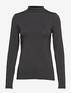 VENETIA JERSEY SPLIT CUFF TOP - basic t-shirts - charcoal mel