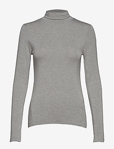 VENETIA JERSEY SPLIT CUFF TOP - basic t-shirts - light grey mel