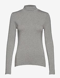 VENETIA JERSEY SPLIT CUFF TOP - basic t-shirts - light grey mel
