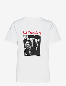 WOMANHOOD GRAPHC ORGNC SSLVTEE - t-shirts - linen white