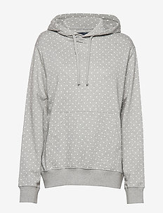 DOTTED DRAWSTRING HOODIE JRSY - hupparit - grey mel/white