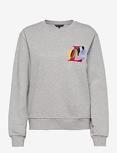 LOVE GRAPHIC CREW NECK SWEAT - sweatshirts - light grey mel