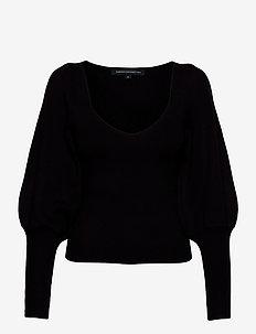 JOSS KNITS PUFF SLEEVE JUMPER - swetry - black