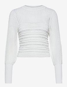 ORIELLE KNITTED PUFF SLEEV TOP - langærmede bluser - summer white