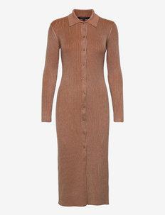 MARI PLEATED CARDIGAN - stickade klänningar - camel/ glazed ginger