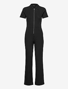 SKARLETT RIBBED JERSEY JUMPST - jumpsuits - black