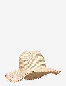 FRAYED EDGE STRAW HAT - NATURAL