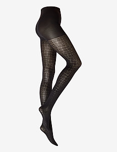 80 DEN SNAKE JACQUARD TIGHTS - panty's - black
