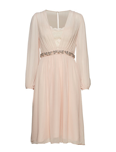 Alana Drape Ls Dress Kleid Knielang Creme FRENCH CONNECTION