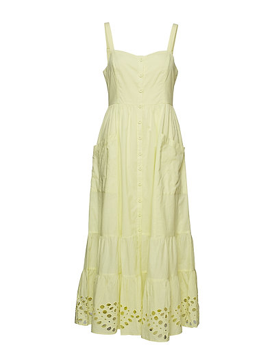 Ancolie Broderie Dress Kleid Knielang Gelb FRENCH CONNECTION