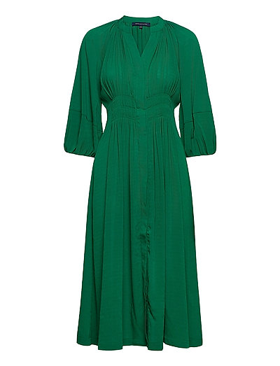 Cora Pleated Dress Kleid Knielang Grün FRENCH CONNECTION