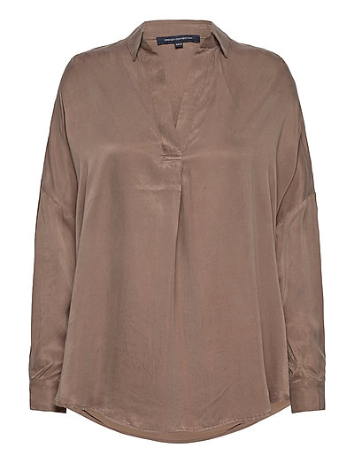 Rosanna Cupro Popover Shirt Langärmliges Hemd Braun FRENCH CONNECTION | FRENCH CONNECTION SALE