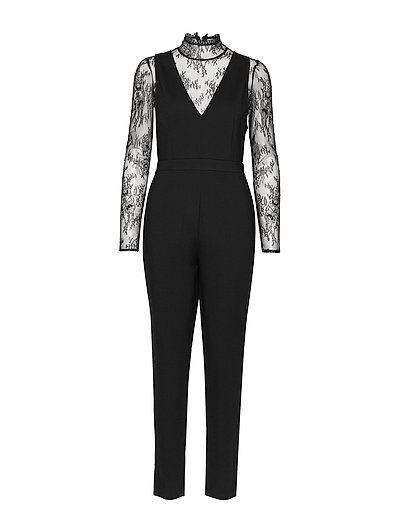 Tabetha Lula Lace Jersey Jumpsuit Schwarz FRENCH CONNECTION