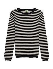 Striped rib blouse - NAVY/ECRU