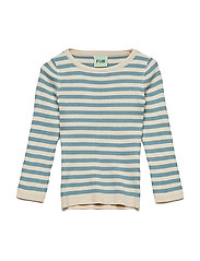 Striped Rib Blouse - ECRU/BLUE