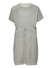 Checked  Dress - ECRU/DUSTY BLUE