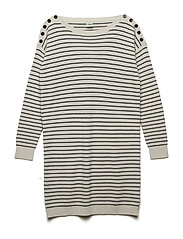 Boatneck Dress - ECRU/NAVY