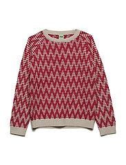 Zigzag Sweater - ECRU/RED
