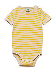 Baby s/s body - ECRU/YELLOW
