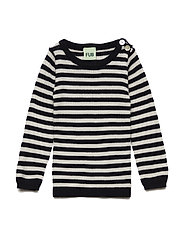 Baby Striped rib blouse - NAVY/ECRU