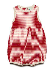 Baby Romper Suit - ECRU/RED