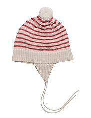 Baby Striped Hat - ECRU/RED