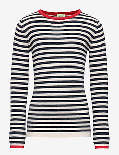 Striped Rib Blouse - ECRU/NAVY