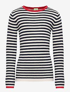 Striped Rib Blouse - ECRU/NAVY