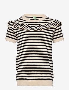 Frill T-shirt - korte mouwen - ecru/dark navy