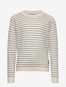 Sweatshirt - ECRU/BLUE