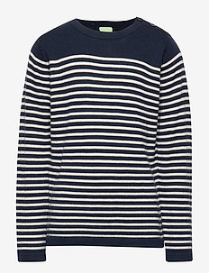 Thin Sweater - NAVY/ECRU