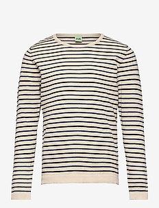 LS T-shirt - lange mouwen - ecru/dark navy/indigo
