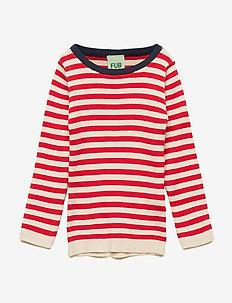 Striped Rib Blouse - ECRU/RED