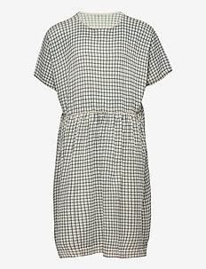 Checked  Dress - jurken - ecru/dusty blue