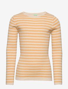 Striped Rib Blouse - dzianinowe - ecru/yellow