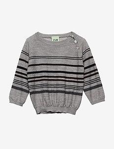 Baby Multi Striped Blouse - knitwear - light grey