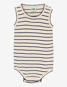Baby Body - lange mouwen - ecru/indigo