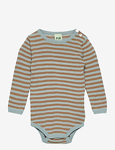 Baby LS Body - langärmelig - dusty blue/camel