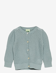 Baby Pointelle Cardigan - gilets - dusty blue