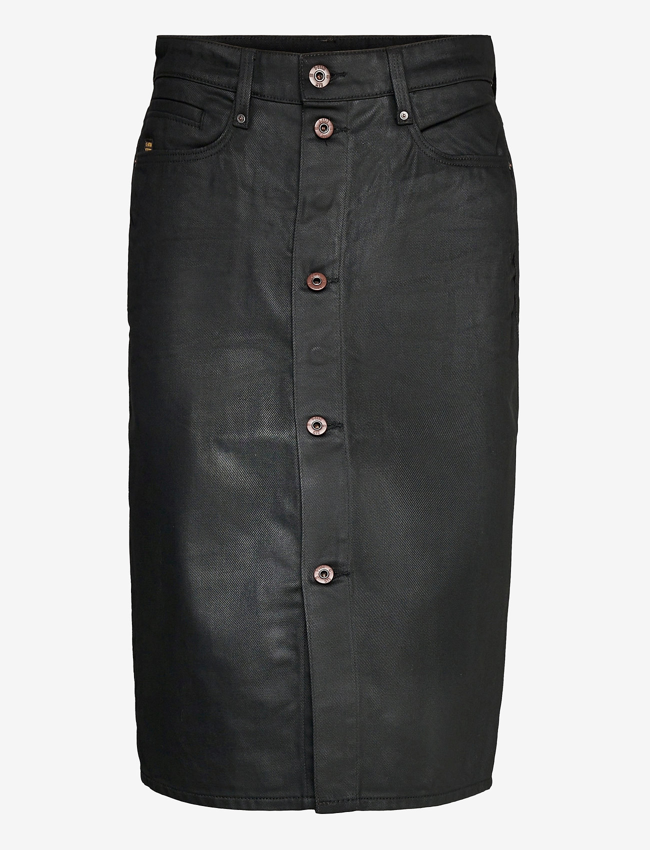 G-star RAW - Noxer Navy Pencil Button skirt - midi rokken - waxed black cobler - 0