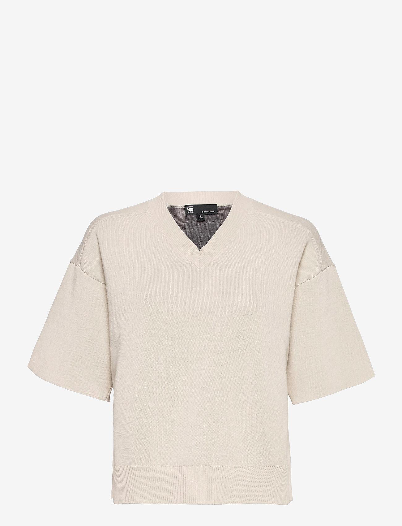 G-star RAW - Knitted v-neck tee - gebreide t-shirts - whitebait/carbid - 0