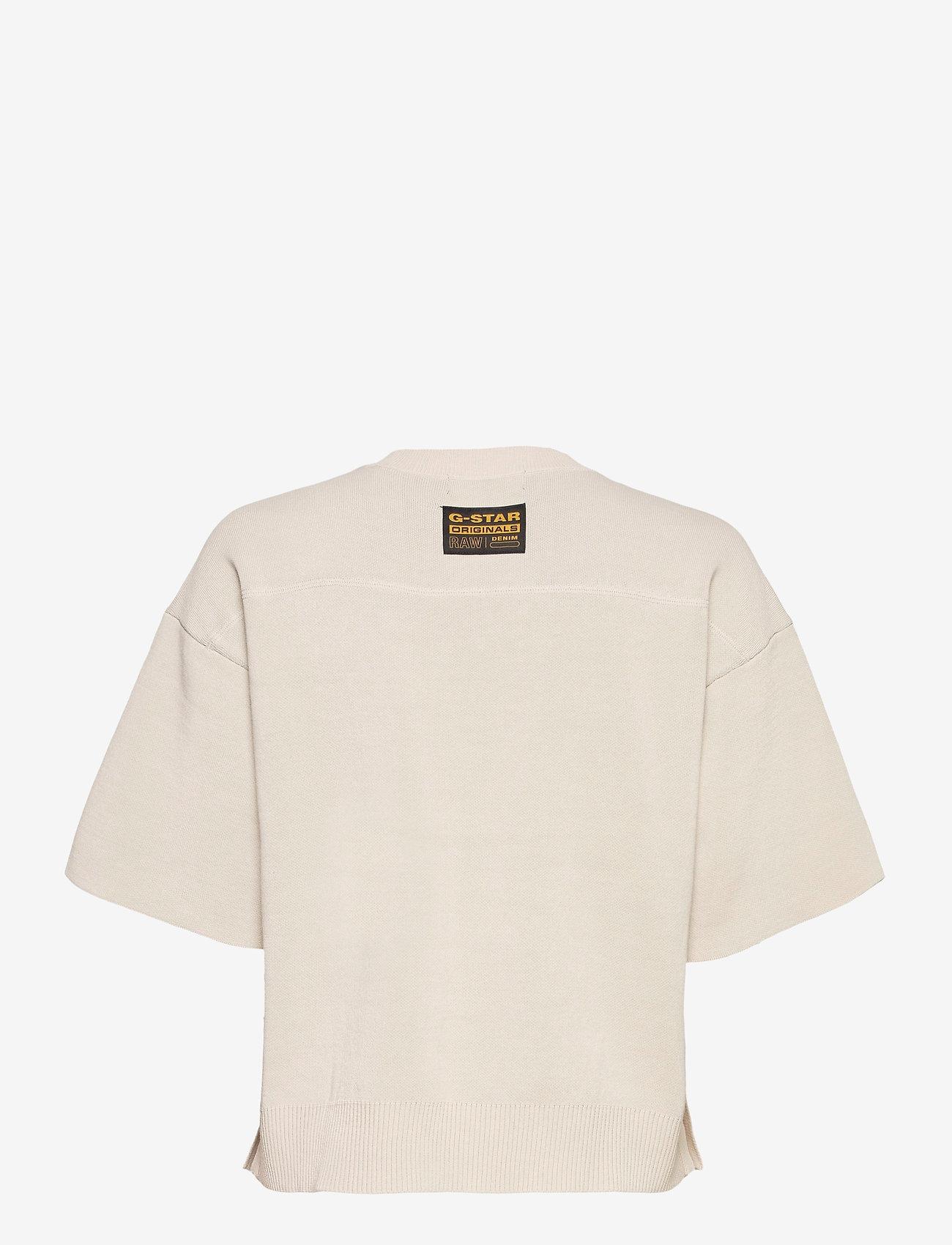 G-star RAW - Knitted v-neck tee - gebreide t-shirts - whitebait/carbid - 1